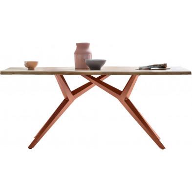 Table à manger rustique avec plateau en bois d'acacia massif et piétement en acier coloris marron antique L. 200 x P. 100 x H. 76 cm collection Oberg