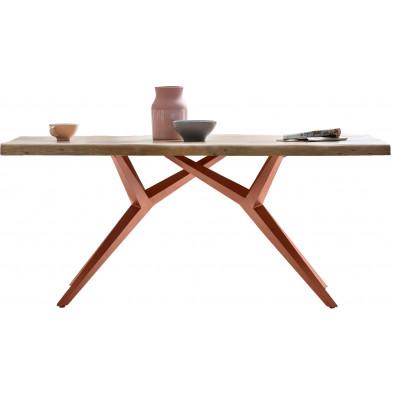 Table à manger rustique avec plateau en bois d'acacia massif et piétement en acier coloris argent antique L. 220 x P. 100 x H. 78 cm collection Oberg