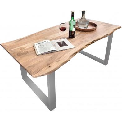 Table à manger contemporaine en bois massif d'acacia et piètement en acier coloris naturel et argenté L. 180 x P. 90 x H. 78 cm collection Thalheim