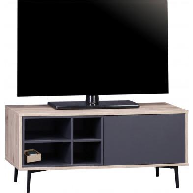 Meuble TV scandinave 1 porte et 4 niches ouvertes en bois MDF et acier coloris gris anthracite et naturel L. 97.5 x P. 39 x H. 45 cm collection Poore