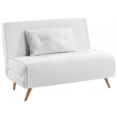 Canapé-lit scandinave clic clac blanc en cuir synthétique L. 100 x P. 85 - 180 x H. 82 cm Collection Hinterzarten