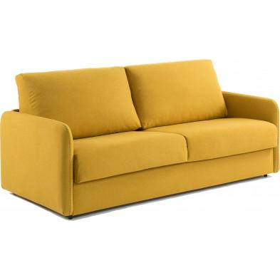 Canapé-lit design jaune en bois,tissu et polyuréthane L. 182 x P. 95 - 220 x H. 92 cm Collection Didianae
