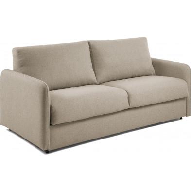 Canapé-lit design beige en tissu,métal et viscoélastique L. 202 x P. 95 - 220 x H. 92 cm Collection Didiane