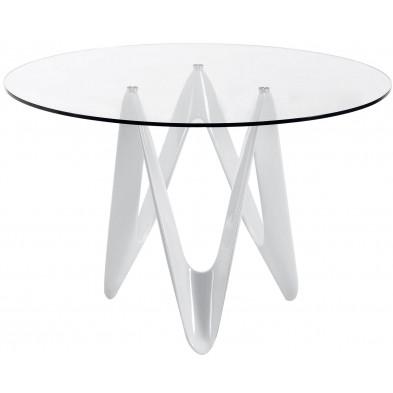 Table à manger ronde design blanc en verre et polyuréthane L. 120 x P. 120 x H. 76 cm Collection Plankstadt