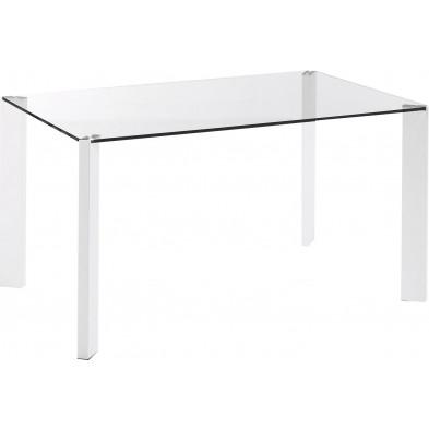 Table à manger design blanc en verre et en métal L. 142 x P. 92 x H. 75 cm Collection Nowlin