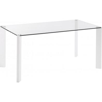 Table à manger design blanc en verre et en métal L. 162 x P. 92 x H. 75 cm Collection Nowlin