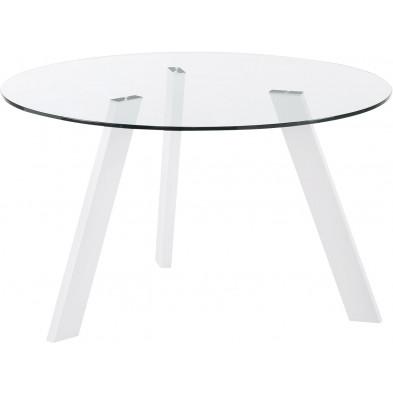 Table à manger design blanc en verre et métal  L. 130 x P. 130 x H. 75 cm Collection