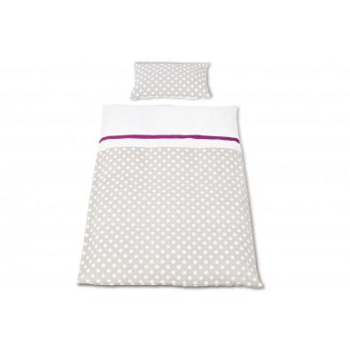 Housse de couette et drap d'oreiller design gris 100% coton 100x135 cm Collection Eliz