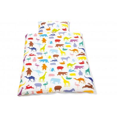 Housse de couette et drap d'oreiller design zoo multicouleur 100% coton 100x135 cm Collection Isabell