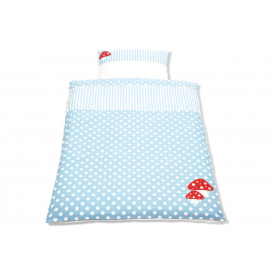Housse de couette et drap d'oreiller design bleu 100% coton 100x135 cm Collection Isabell