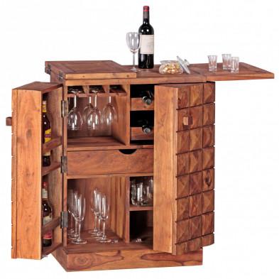 Casier à vin  marron contemporain en bois massif L. 65 - 130 x P. 65 - 130 x H. 91 cm collection Camperdown