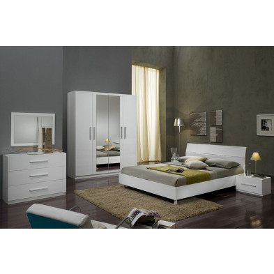 Chambre adulte complète blanc moderne collection Fischach
