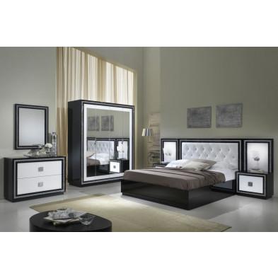 Chambre adulte complète blanc design collection Saliha