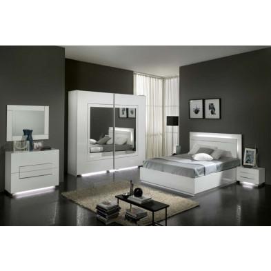 Chambre adulte complète blanc design collection Nomi