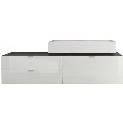 Meuble bas suspendu de salle de bain  coloris gris et blanc laqué  L. 140 x P. 53 x H. 50 cm collection Oostvoorne