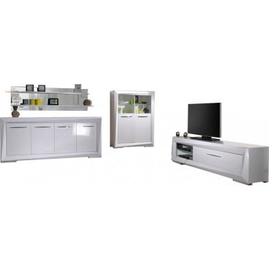 Ensemble meuble tv blanc design en cm de largeur collection Gamizfika