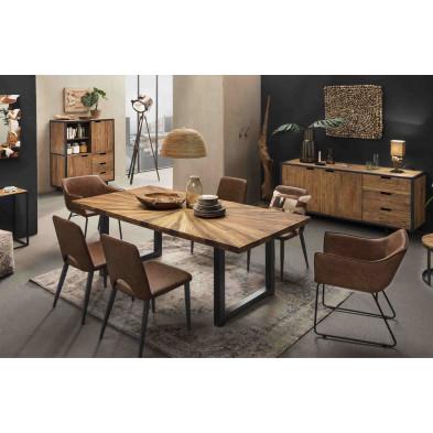 Composition salle à manger complète style rustique industriel coloris marron collection Renew