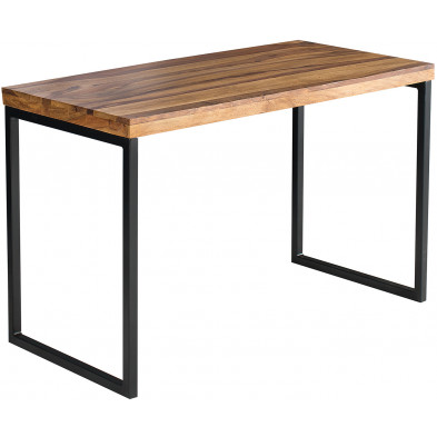 Bureau contemporain marron moderne en bois massif sheesham coloris marron L. 118 x P. 60 x H. 77 cm collection Millbrook