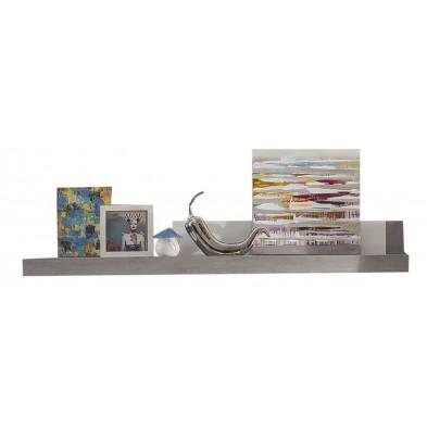 Étagère murale en panneaux de particules coloris blanc et gris béton L. 210 x P. 22 x H. 30 cm collection Jaromir