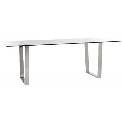 Table de salle à manger design plateau en verre avec piètement en acier inoxydable argenté , L. 200 x P. 90 x H. 79 cm  collection Paramount Richmond Interiors Richmond Interiors