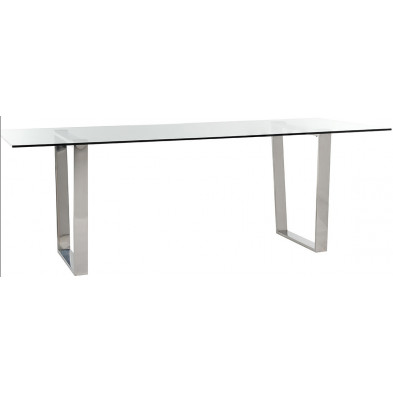Table de salle à manger design plateau en verre et piètement en acier inoxydable argenté , L. 230 x P. 100 x H. 79 cm  collection Paramount Richmond Interiors Richmond Interiors
