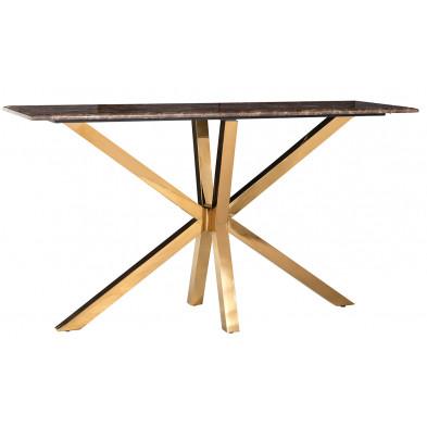 Table de salle à manger design plateau en imitation marbre marron et piètement en acier inoxydable doré , L. L. 150 x P. 45 x H. 81 cm  collection Conraden Richmond Interiors Richmond Interiors