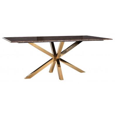 Table de salle à manger design plateau en imitation marbre marron et piètement en acier doré L. 200 x P. 100 x H. 76 cm collection Conrad Richmond Interiors Richmond Interiors