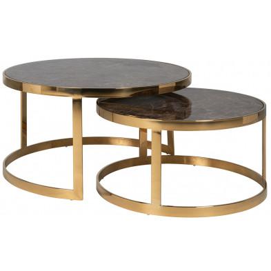 Lot de deux tables basses  design coloris marron et or en acier inoxydable et imitation marbre, L. 90-75 x P. 90/75 x H. 46-37 cm collection Conrad Richmond Interiors Richmond Interiors
