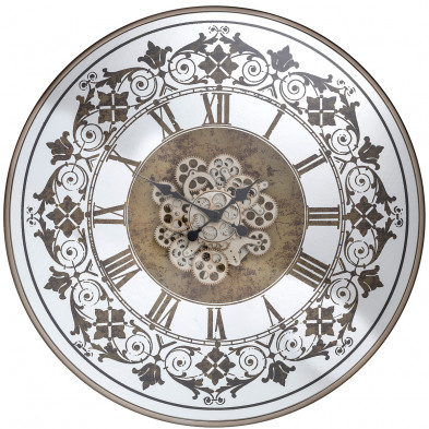 Horloge murale 82 cm design vintage à chiffres romains en acier et verre, L. 82 x P. 10 x H. 82 cm collection Orvill Richmond Interiors Richmond Interiors
