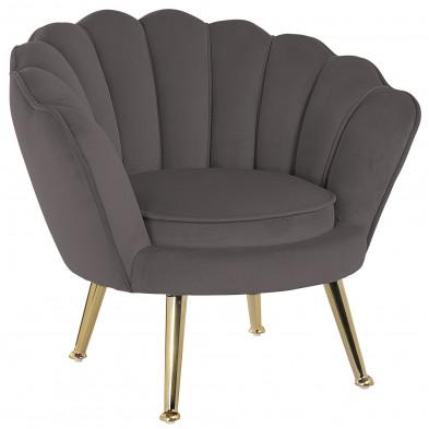 Fauteuil design revêtement en velours marron avec piètement en acier doré ,  collection Charly L. 63 x P. 56 x H. 66 cm Richmond Interiors Richmond Interiors