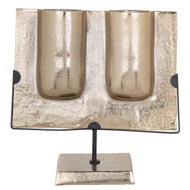 Bougeoir et chandelier design en aluminium coloris or collection Dalan L. 36 x P. 16.5 x H. 35 cm Richmond Interiors Richmond Interiors