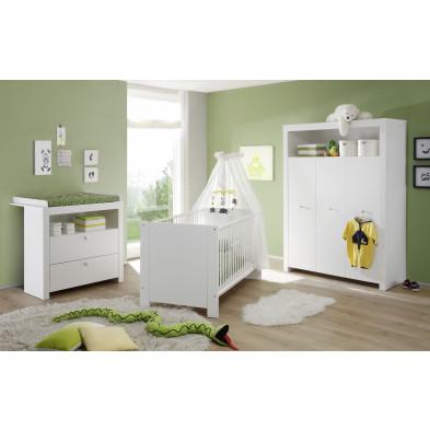 Chambre bébé 3 pièces avec lit 70x140 cm , commode et armoire bébé coloris blanc collection Johann