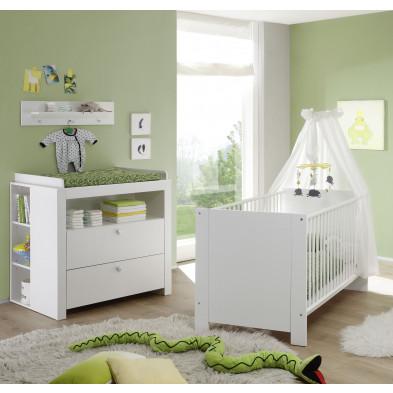 Chambre bébé 3 pièces avec lit 70x140 cm , commode à langer et 2 étagères coloris blanc collection Johann