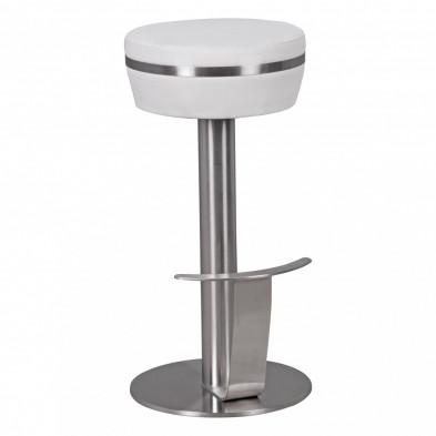 Tabouret de bar blanc design en acier 37 cm de largeur L. 37 x P. 37 x H. 76 cm collection Scan