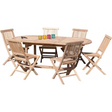 Ensemble table et chaise marron contemporain en bois massif teck L. 150/200 x P. 90 x H. 75 cm collection Sechelt