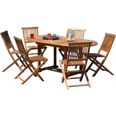 Ensemble table et chaise marron contemporain en bois massif teck  L. 120/180 x P. 90 x H. 75 cm collection Chavelli
