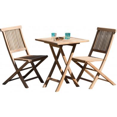 Ensemble table et chaise marron contemporain en bois massif teck L. 60 x P. 60 x H. 76 cm collection Sechelt