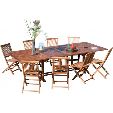 Ensemble table et chaise marron contemporain en bois massif teck L. 200/300 x P. 120 x H. 75 cm collection Chavelli