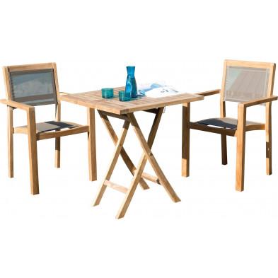 Ensemble table et chaise marron scandinave en bois massif teck L. 70 x P. 70 x H. 76 cm collection Sechelt