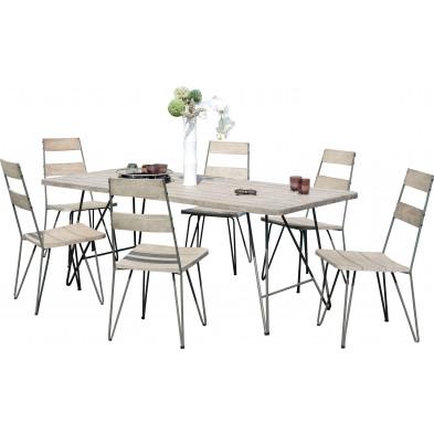 Ensemble table et chaise marron scandinave en bois massif teck L. 200 x P. 90 x H. 77 cm collection Wray