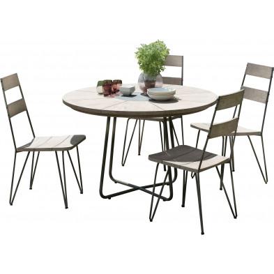 Ensemble table et chaise marron scandinave en bois massif teck L. 120 x P. 120 x H. 77 cm collection Wray