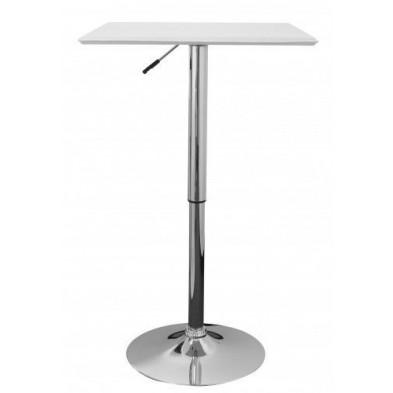 Table de bar blanc design en PVC L. 63 x P. 63 x H. 83 - 104 cm collection Synonymous