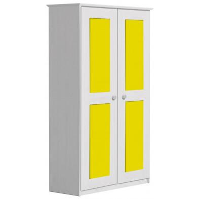 Armoire jaune contemporaine en bois massif  L. 86 x H. 196 cm collection Genoveffa