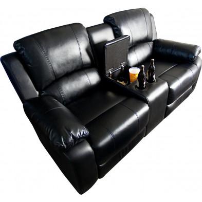 Canapé relax 2 places moderne en pvc coloris noir  L. 190 x P. 95-160 x H. 100 cm collection Emmeloord