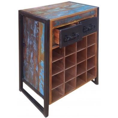 Meuble range bouteilles rustique en bois recyclé et métal avec 16 compartiments pour bouteilles coloris marron et multicolore L. 53 x P. 35 x H. 80 cm collection Fleischman