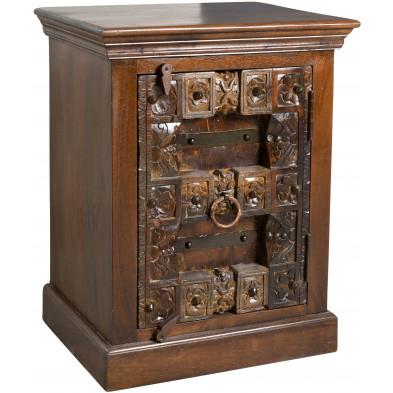 Table de chevet contemporaine  1 porte en bois sculpté recyclé coloris marron foncé L. 55 x P. 45 x H. 70 cm collection Elbrich