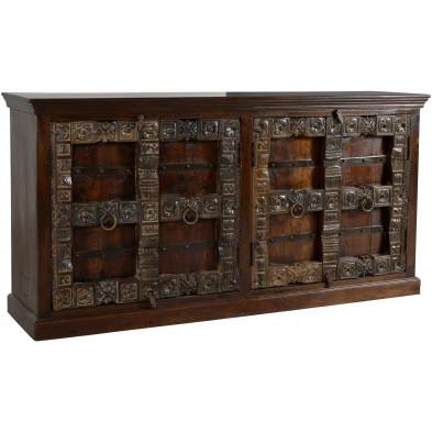 Buffet contemporain  4 portes en bois sculpté recyclé coloris marron foncé L. 180 x P. 45 x H. 90 cm collection Elbrich