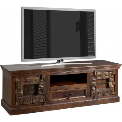 Meuble TV rustique 2 portes et 1 tiroir en bois sculpté recyclé coloris marron foncé L. 150 x P. 45 x H. 50 cm collection Elbrich