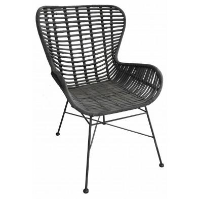 Chaise moderne  en rotin naturel et piétement métal coloris noir L. 60 x P. 70 x H. 88 cm collection Apfeldorf