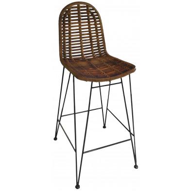 Chaise haute moderne en rotin naturel et piétement métal coloris marron L. 49 x P. 60 x H. 110 cm collection Apfeldorf